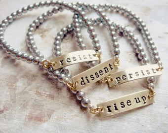 Resistance Jewelry - Resist - Persist - Dissent - Rise Up Stretch Bracelets (Individual)