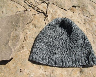 Hand Knit Lacy Green Hat