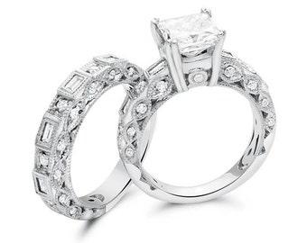 Vintage 3.25 Carat Princess Cut Diamond Engagement Ring Set In 14K White Gold