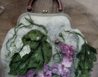 Hand felted bag white  with orchid  flowers purse pouch metal frame purse, wool felted, maine color off white