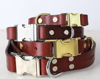 Brown Leather Dog Collar -- Classic Side Release Buckle