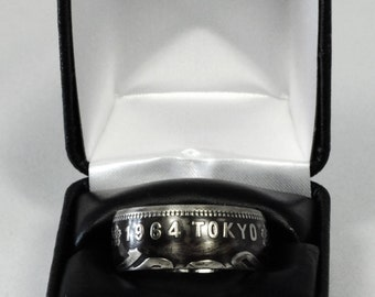 Men's Coin Ring Silver 1000 Yen Coin Tokyo Olympic Games 1964 - Size: 11.5