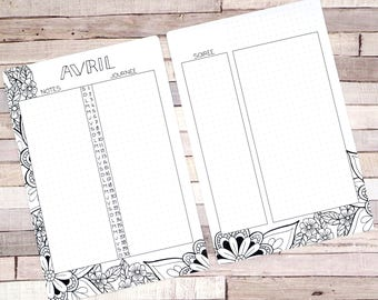 Monthly calendar Printable, April, Planner and Bullet Journal