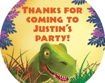 "Personalized 3"" Dinosaur Birthday party stickers."