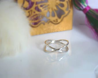Double ring in sterling silver and bathed in gold sterling silver ring size 12