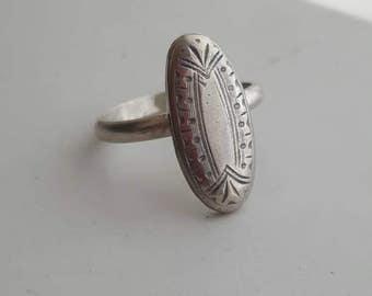 Art Deco Sterling Silver Long Oval Ring Handmade