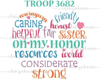 Girl Scout Custom Troop Number SVG PNG Vector Cut file for Cricut Silhouette DIY T-Shirt Heart Design On My Honor Courageous Friendly
