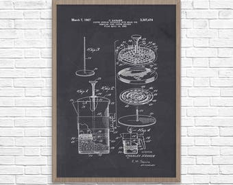 Coffee Art, coffee pot, coffee decor, coffee poster, Cafetiere Poster, French Press, Coffee Wall Art, Cafe Art, coffee lover gift
