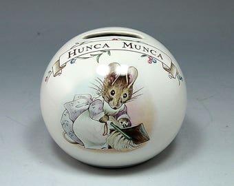 Beatrix Potter Baby Shower, Royal Albert, England,  Hunca Munca Bunny, Rabbit Bank, Nursery, Baby Gift, Christening Gift, Baptism Gift