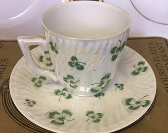 Iridescent Vintage Cup and Saucer with Shamrock Design