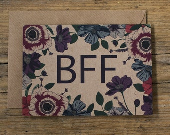 BFF Botanical Floral Illustrated Best Friend Birthday Greetings Card
