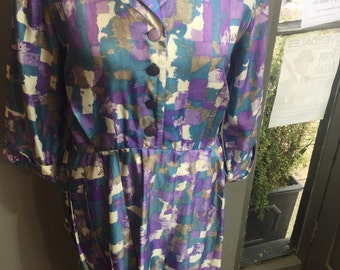 Vintage blue and purple patterned dress size 12 ST MICHAEL