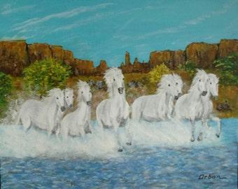 White Horses Forging a River