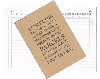 Month Planner, Any Year Diary, Calendar & A-Z Book - Literary Quotation Typography   Recycled A6 Kraft Address Book   Virginia Woolf Quote