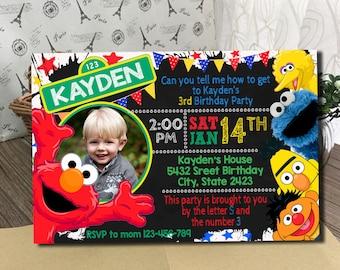 Sesame Street Invitation, Sesame Street Birthday Invitation, Sesame Street, Sesame Street Birthday Card, Sesame Street invites, Sesame