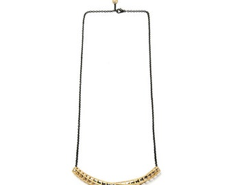 """3D printed necklace """"Cubetwist"""", steel – gold plated"""