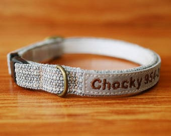 Simple Grey Cat Collar Personalized, Chelsea Grey Personalized Cat Collar, Chocky Breakaway Cat Collar, Kitten Collar, Small Dog Collar