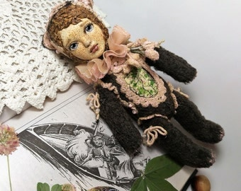 Pink Clover OOAK Art Doll by Julia Arts