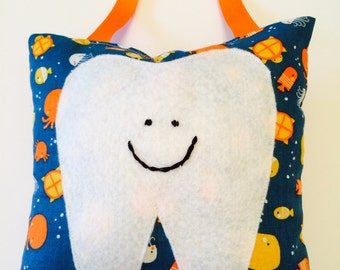 Tooth Fairly Pillow for Boy - Orange and Blue Ocean Sea Creatures, Jelly fish, Octopus, Fish, Whales,Loose Tooth Pillow, Ocean Sea Decor-718