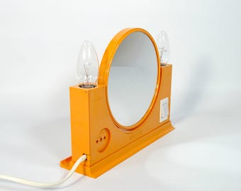 Vintage Vanity Mirror / Double Sided Mirror Lamp / Vanity Station / Space Age / Elma / Atomic / Orange Desk Mirror / 70s Yugoslavia