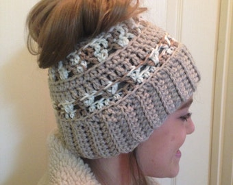 Crochet Pattern for Ponytail Hat