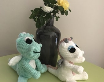 READY to SHIP - Twinkle the Magical MINT Dragon - Handmade Crochet