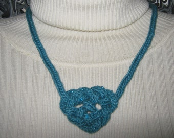 Teal Beaded Heart Necklace