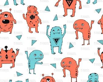 Monsters Fabric by andrea_lauren