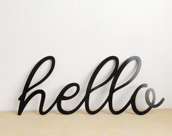 Hello Metal Sign - Metal Wall Sign - Wall Art - Hello - Metal Home Decor - Farmhouse Decor