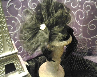 Couture Black Tulle and Jewel Fascinator