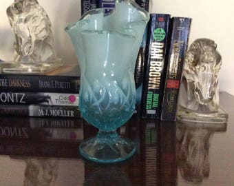 VINTAGE Fenton Glass Blue Opalescent Lily Of The Valley Handkerchief Vase