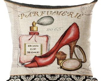 Parfimerie Pillowcases Fashion Home Bedroom Decor Pillowcase Throw Pillowcase Red Beige Black Perfume Bottles