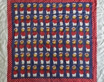 Vintage Anna Valerie Adolf scarf 100% silk Teddy Bears Made in Italy
