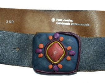 Vintage Real Leather ® Handmade Craftsmanship belt women size 80