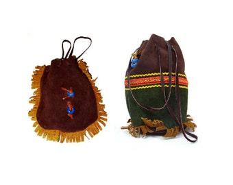 Set of 2 Vintage suede purses country bag velours pocket