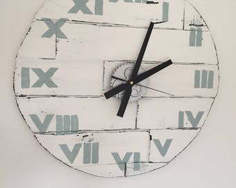 Rustic Wood  Clock Medium  56 cm / 22.1 inch Diameter White Wall with Duck Egg Roman Numerals
