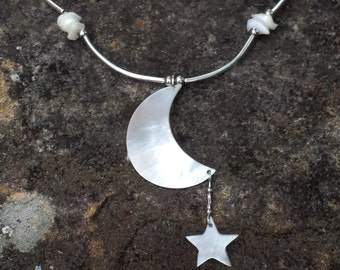Mother of Pearl Crescent Moon and Star Necklace by Indigo Mood