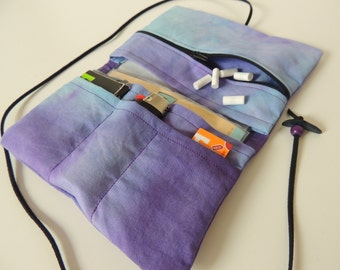 Woolen purse / Upcycling purple - with zipper -