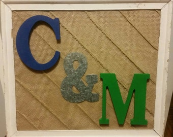 Personalized handmade frames with burlap and customized colored initials