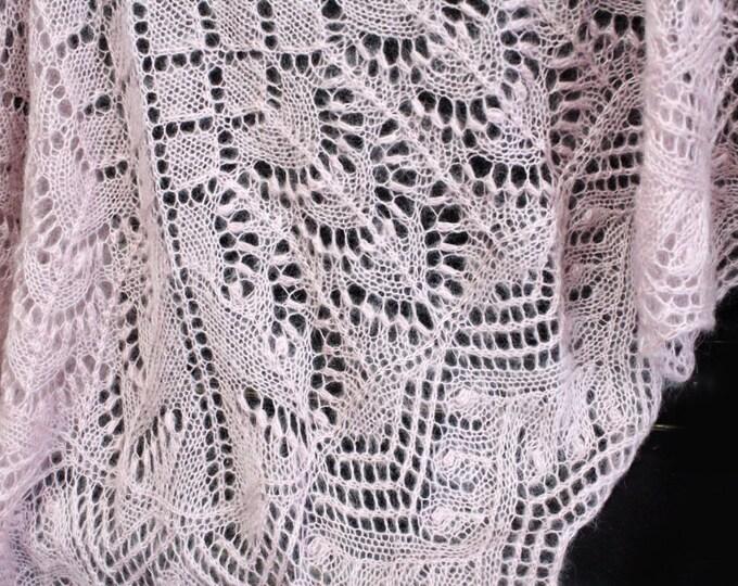 Knitted shawl, light pink shawl, knit shawl, knit scarf, triangular scarf, mohair shawl, openwork scarf, downy shawl, lace shawl