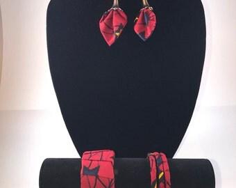 Ankara set earing bracelet african print jewelry