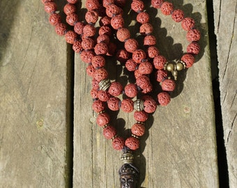 Traditional Red Lava Mala – 108 Bead - brown sitting in meditation Buddha – hand knotted with natural Hemp