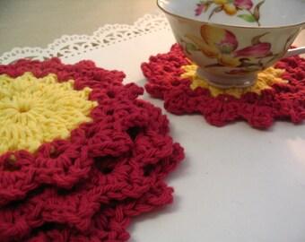 4 Piece Crochet Coaster Doily Set Tea Coasters Coffee Mug Coaster Home Decor Coaster Collection 4
