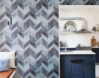 Wood Weathered Herringbone Wallpaper Dark Grey and Light Blue R4665