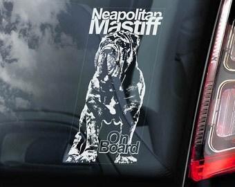 Neapolitan Mastiff on Board - Car Window Sticker - Mastino Napoletano Dog Sign Decal - V01