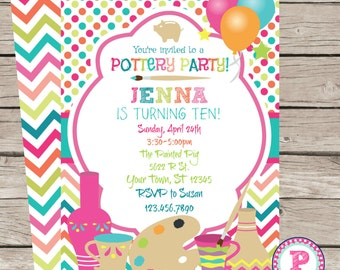 Painting Pottery Birthday Party Invitation Front Back Option Pink Chevron Balloons 5x7