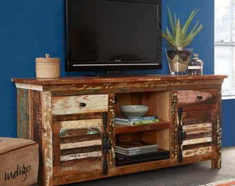 Coastal vintage large TV entertainment unit cabinet - Handmade reclaimed wood
