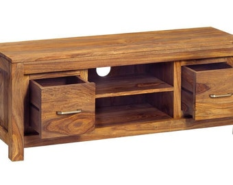 Sheesham handcrafted wooden tv unit - Handcrafted in India - 2 drawer with shelf