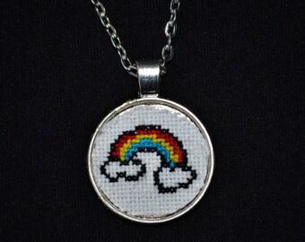 Rainbow - Handmade Cross Stitch Necklace