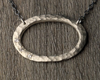 Hammered Sterling Silver Necklace - White Topaz - Halo Pedant